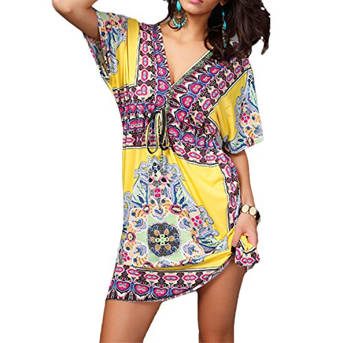 Zhhlaixing Mujeres Fashion Summer Beach Dress V Neck Silk Casual Long Dresses