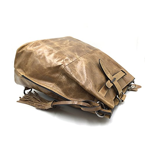 Design Women Purse Unique Beige Hobo Drawstring Leather Handbag Brown Crossbody for Backpack Western Sheli Convertible Fringe 641wqnEnvx