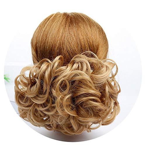 Women's Elastic Drawstring Clip In High Temperature Fiber Synthetic Hair Curly Chignon,#4