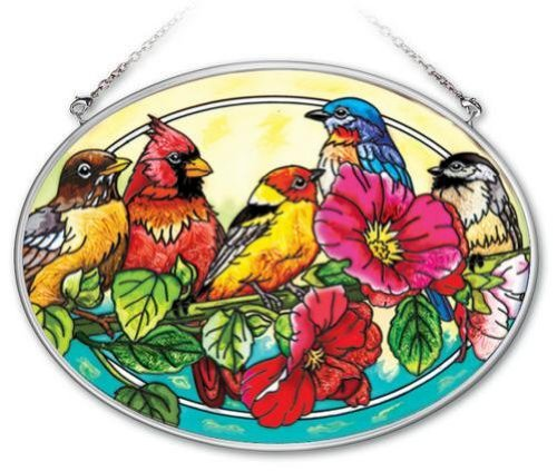 Amia 41953 7 by 5-1/2-Inch Oval Hand-Painted Glass Suncatcher, Songbirds on Hollyhock, Large