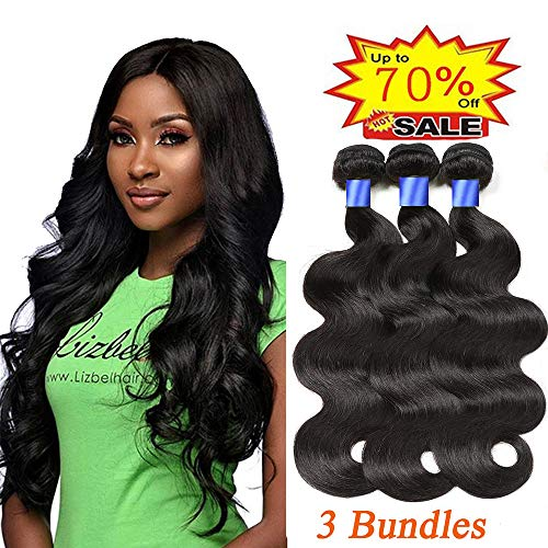 30' Single Natural - Gluna Hair Brazilian Virgin Body Wave 3 Bundles 100% Unprocessed 8A Virgin Body Wave Human Hair Weave Weft Extensions 3 Bundles Full Head Set (Natural Color,10 12 14 inch)