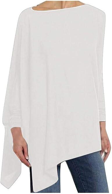 Sudadera Irregular De Manga Larga Color SóLido para Mujer Blusa con Estampado Suelto Camiseta Camisa Basica Cuello Redondo Casual Shirt Elegante Lady Tops: Amazon.es: Ropa y accesorios