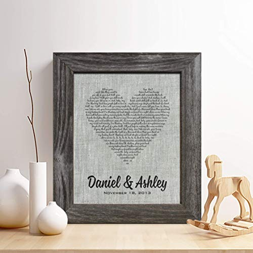 Personalized 4th Linen Anniversary Gift for Him or Her, First dance song Linen Print, Wedding Vows, any Text, Heart Linen Print,Gifts for Husband and Wife, 4 Years ()