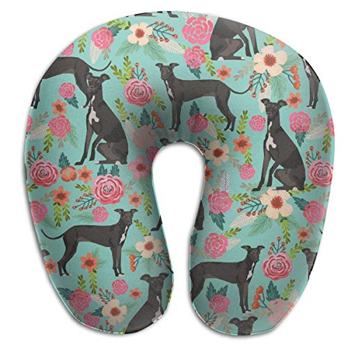 NiYoung Travel Pillow Memory Foam Neck Car Restful Sleep Comfortable Plane Pillows - Italian Greyhound - Breathable & Comfortable in Washable Cover