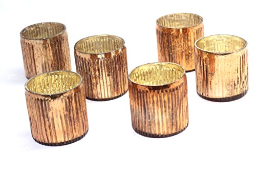 mercury glass ribbed votive - set of 6 (copper)