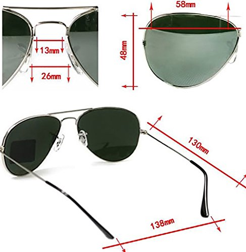 mirror Silber soleil de Taille aviator Lunettes unique Homme argent green 4sold nUwCOqY4