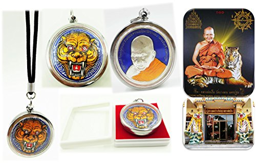 Powerful magic phra lp' Pern Tiger big face of wat bang phra temple pendant for life protection with (Isabella Elephant Costume)