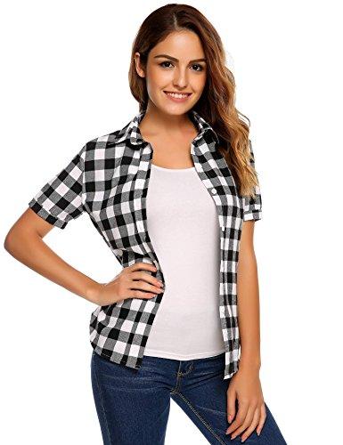 SUNAELIA Womens Plaid Flannel Shirt Short Sleeve Boyfriend Button Down Cotton Casual Blouse Check Gingham Top S-XXL White
