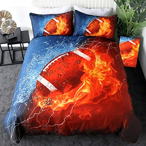Sleepwish 3 Pieces Queen Size Football Bedding 3D American Football on Fire and Ice Dark Blue Orange Sports Themed Duvet Cover
