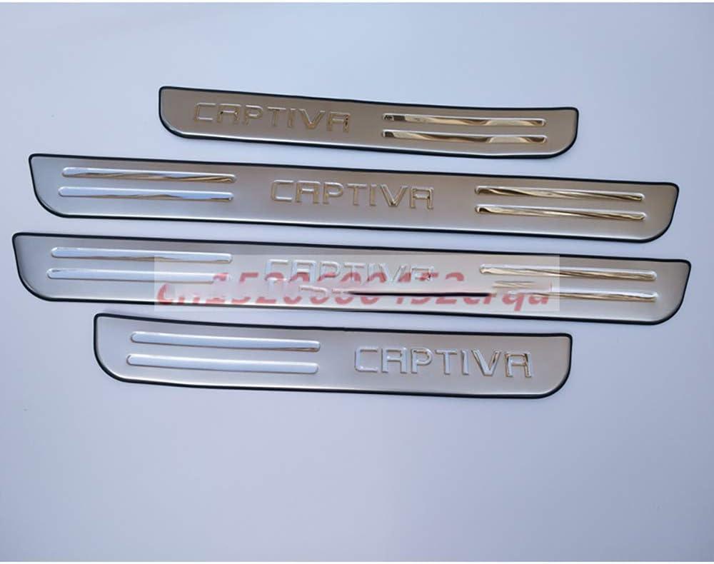 wowowa Placa de umbral de umbral de Puerta de Acero Inoxidable para Coche de 4 Piezas para Chevrolet Captiva 2008-2018