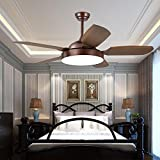 Andersonlight Classic Ceiling Fan with Dimmable 48W LED Light Source and Acrylic Shades, 5 ABS Brown Blades, Reversible Mute Motor, 3-Speed, for Indoor Living Room Dining Room, New Bronze 52-Inch