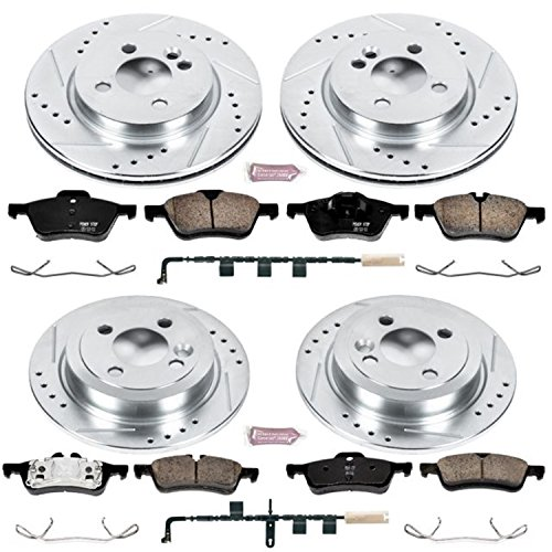 (Power Stop K6298 Front and Rear Z23 Evolution Brake Kit with Drilled/Slotted Rotors and Ceramic Brake Pads)