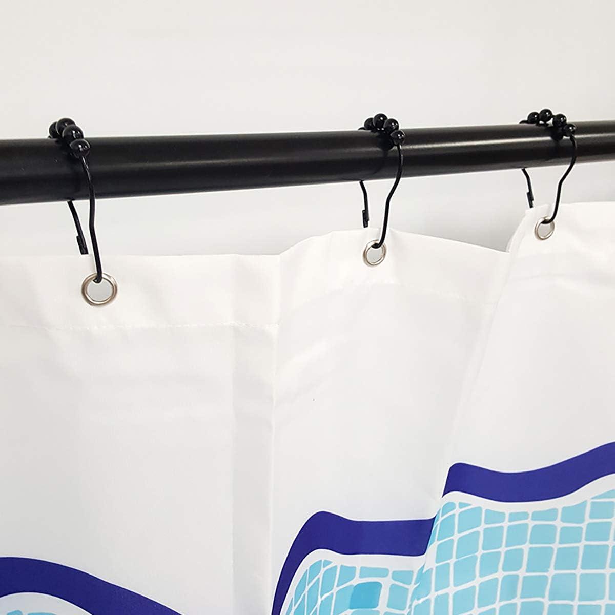 12Packs Shower Curtain Hooks Rings Heavy Duty Roller Glide Shower Rings Stainless Steel Rustproof Shower Curtain Rings for Bathroom Shower Rods Black