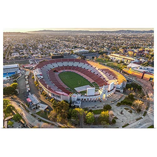 GREATBIGCANVAS Poster Print Entitled Aerial View of Los Angeles Memorial Coliseum, California by Copterpilot Photography 18