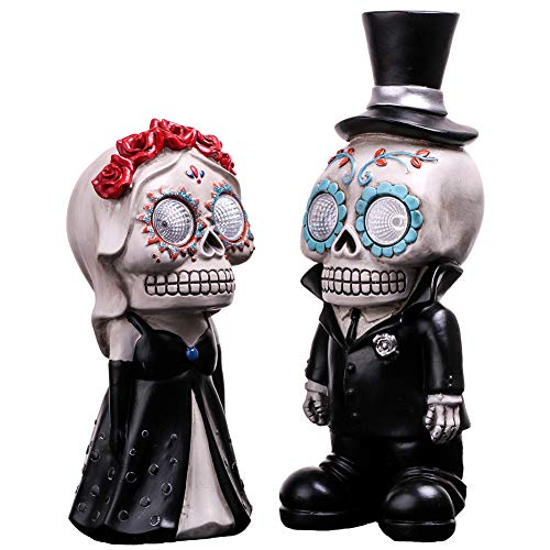 V&M VALERY MADELYN Day of The Dead Decorations Eternal Wedding Skeleton Couple, 2 Packs Resin Statues with Solar Lights, 8