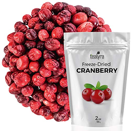 Cranberry - Freeze Dried Fruits Snacks Chunks - Non-GMO - Gluten-Free - No Sugar Added - 100% Natural and Organically Processes - Tealyra