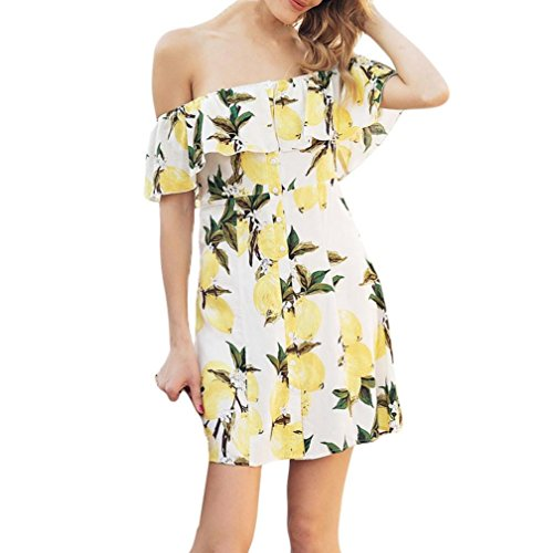 Funic 2018 Hot Sale Women Summer Casual Short Sleeve Fruit Lemon Printing Off The Shoulder Dress Sundress