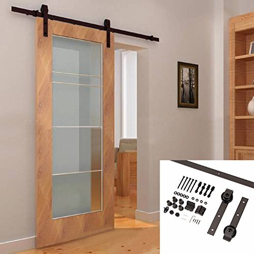 UBEST Dark Brown Sliding Barn Doors Country 6.6Ft Antique Sliding Door  Hardware Kits by Ubest - UBEST Dark Brown Sliding Barn Doors Country 6.6Ft Antique Sliding