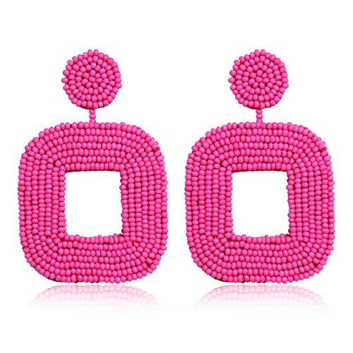 - boderier Beaded Drop Earrings Bohemian Wire Wrapped Beaded Square Hoop Dangle Statement Earrings (Hot Pink)