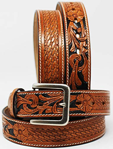 (CHALLENGER 51-52 Men's Western Rodeo Fashion Tooled Floral Genuine Leather Belt 2649RS)