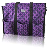 Pursetti Teacher Bag with Pockets - Perfect Gift for Teacher's Appreciation Week and Christmas (Purple_Geo)