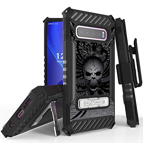 Galaxy S10 Plus Case, Customerfirst Tri-Shield Tough Series Rugged Kickstand Cover with Belt Clip Holster [Shock Resistant] for Samsung Galaxy S10 Plus, S10+ Plus 2019 (Skull Wings)