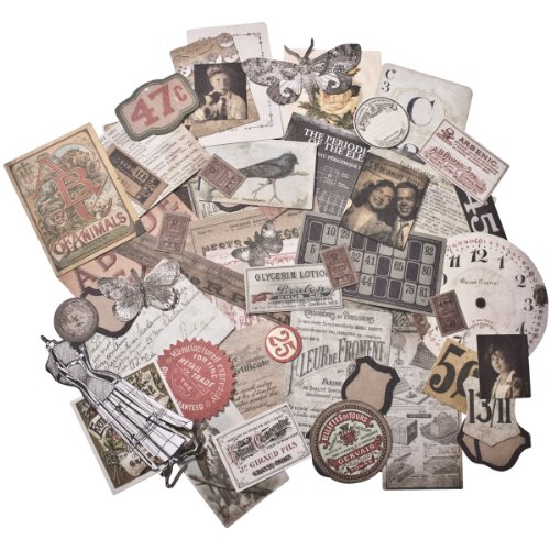 Thrift Shop Ephemera Pack by Tim Holtz Idea-ology, 54 Pieces, Assorted Colors/Designs, - Craft Supplies