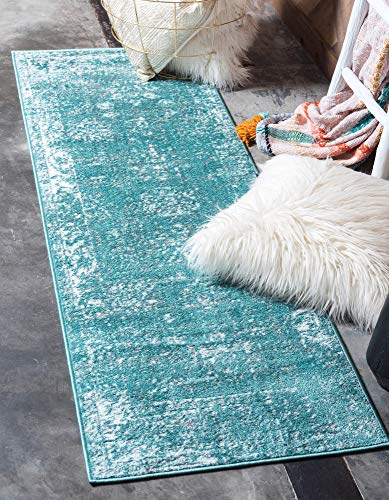 Unique Loom 3137807 Sofia Collection Traditional Vintage Beige Area Rug, 2' x 7' Runner, Turquoise (Kitchen Rugs Turquoise)