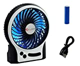 Security Portable Electric Personal Fan Mini USB Rechargeable Table Fan with 18650 Lithium-Ion Battery and USB Cable, Internal and Side Light, 3 Speeds
