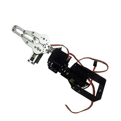 NON Sharplace Kit de Construcción de Brazo Robótico Metalico Robot Educativo 3 Servo DIY
