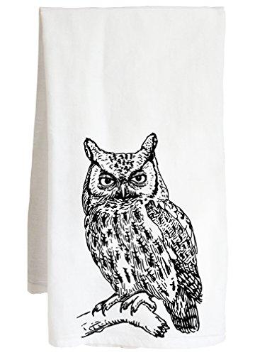 Owl Farm Screech - Live Nice OWL - Raptor Bird of Prey barn Hoot Screech - Farm Flour Sack Kitchen Tea Towel
