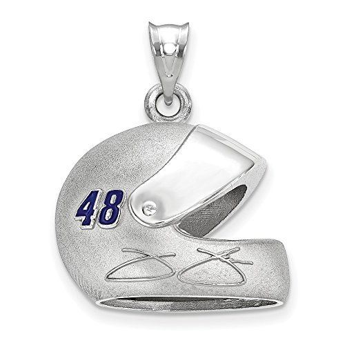 Sterling Silver Women's 48 Jimmie Johnson NASCAR Jewelry Pendants & Charms 22 mm 26 mm 3-D DRIVER HELMET ()
