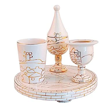 White Ceramic Havdalah Set with Jerusalem Panorama and Gold Lines