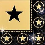 Serviettes noir et or étoiles