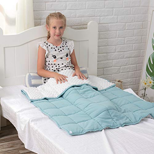 5lb Premium Weighted Blanket for Kids, Heavy Blanket, Anxiety Blanket Help Children with Anxiety, Autism, ADHD, Insomnia, Natural Calm, Sensory Blanket for Stress Relief(Mint Green, 36''x48'')