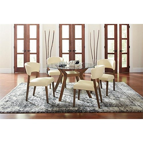 Coaster Home Furnishings Paxton 5-Piece Dining Set with Upholstered Nutmeg and Cream -