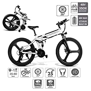 518pltZC3LL. SS300 Coolautoparts Bicicletta Elettrica Pieghevole 350W/500W 25km/h 26 Pollici Uomini Donne Mountain Bike 48V 10AH Batteria…