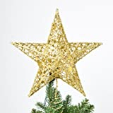 """Christmas Tree Topper, 7.8"""", Wire Gold Tree Star for Chirstmas Decoration by Sricam"""