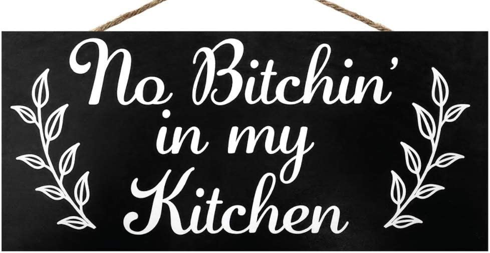 JennyGems No Bitchin in My Kitchen | Funny Kitchen Signs | Farmhouse Kitchen Decor | Genuine Wood Sign | Made in USA