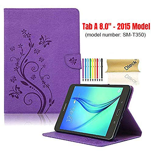 SM-T350 Case with [Stylus Pen], Tab A 8.0 Case 2015 Model, Dteck Pretty Nice Cute Butterfly Flip Stand Case PU Leather Folio Pocket Cover for Samsung Galaxy Tab A 8 ()