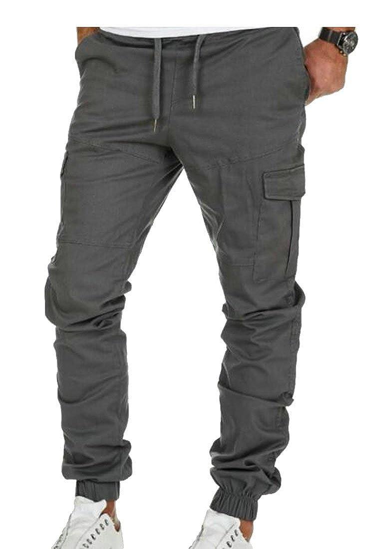 GRMO-Men Joggers Multi-Pocket Casual Fitness Cargo Sport Pants