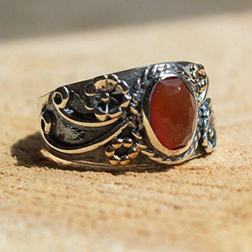 - Sterling Silver carnelian gemstone ring Gypsy statement Hippie Boho band- Three Sunrises R2223