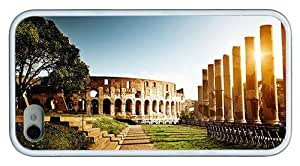 Hipster iPhone 4 case free shipping colosseum amphitheater TPU White for Apple iPhone 4/4S