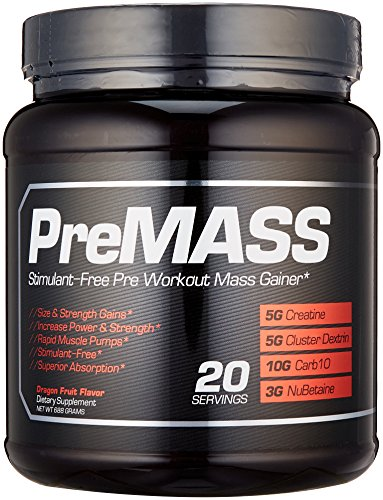 PREMASS, Pre Workout Mass Gainer Stack, 2-In-1 Caffeine Free Nitric Oxide Booster & Natural Muscle Builder with No Fillers or Dyes, Top Muscle Building Supplement with Creatine & L Arginine, 688G