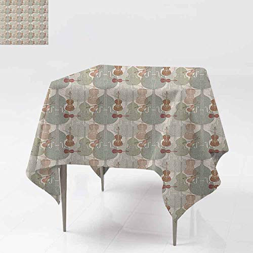 (DUCKIL Wrinkle Resistant Tablecloth Classical Instrumets String Quartet Violins Baroque Sonata Washable Tablecloth W63 xL63 Pale Caramel Warm Taupe Reseda Green)