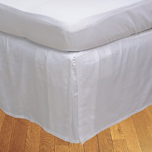 BudgetLinen (1 Box Pleated Bed skirt Only,White , King , Drop Length 24 inches) 100% Egyptian Cotton Luxurious 400 Thread Count - Custom Drop Pleated Bed Skirt