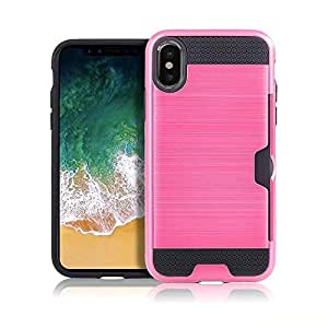 iPhone X Case, FIRERO Ultra Slim Armor Soft Rugged Card Case Cover For iPhone X (Rose Gold)