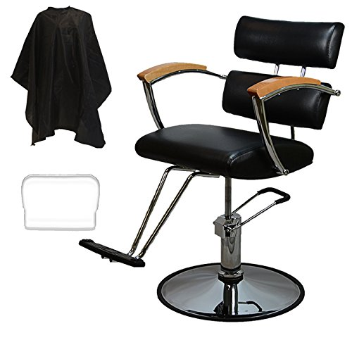 Review LCL Beauty Salon Styling Station Package: Contemporary Hydraulic Barber Chair & Wall Mount Locking Styling Station with Oak Drawers FREE Steel Instrument Holder
