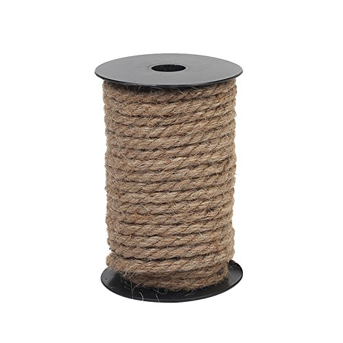 Vivifying 50 Feet 8mm Jute Rope, Natural Heavy Duty Twine for Crafts, Cat Scratch Post, -