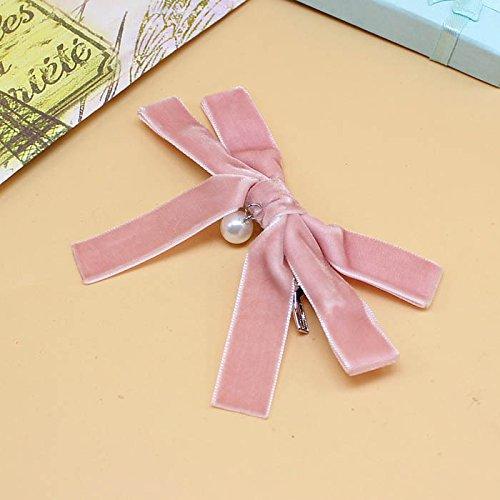 01 Japan Pin - New Japan village sand velvet velvet bow hairpin pink top edge clamps 01 Hair clip for women girl lady